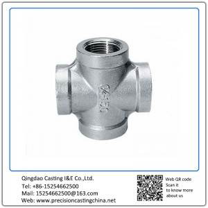 Customized Grey Iron Cross Pipe Fittings with Thread Waterglass Casting
