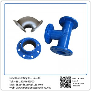 Customized Painted Tee Joint Pipe Fittings Ductile Iron Clay Sand Casting